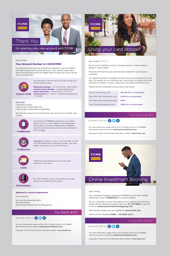 First City Monument Bank (FCMB) email campaigns - template designs