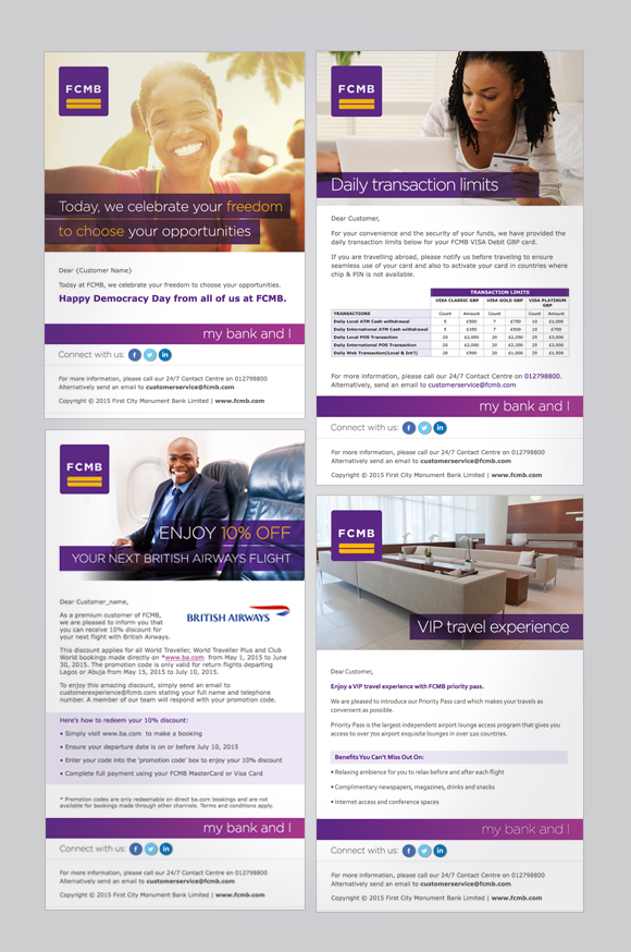 First City Monument Bank (FCMB) email campaigns - emarketing template