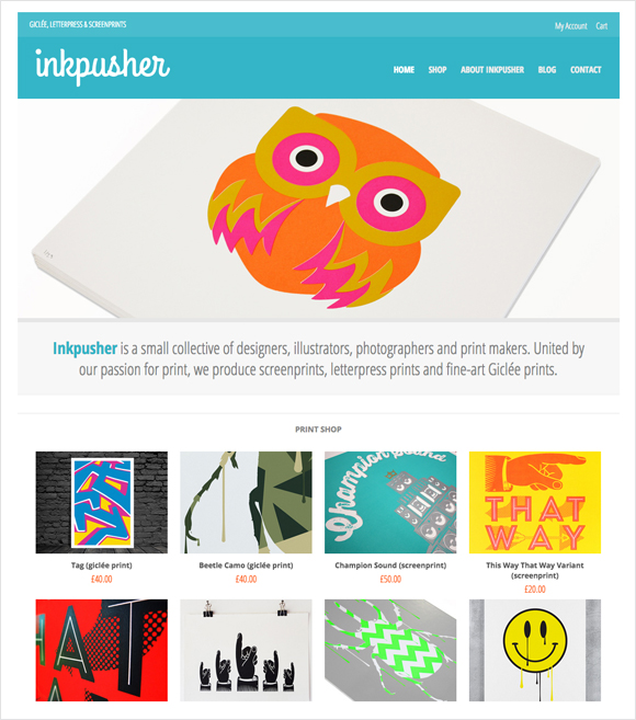 Inkpusher webstore - screenprints, letterpress prints and fine-art Giclée prints