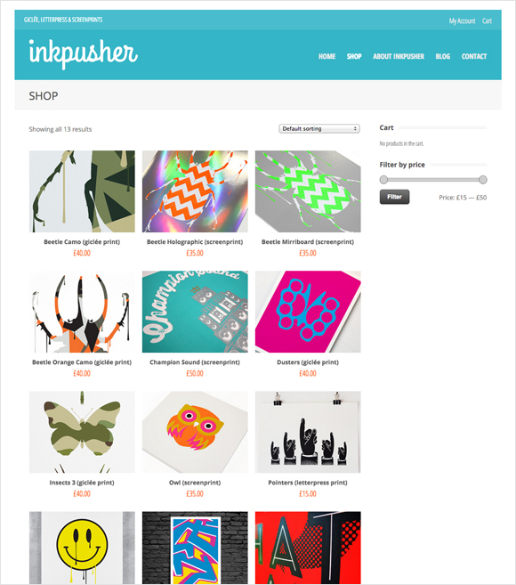 Inkpusher webstore - shop for screenprints, letterpress prints and fine-art Giclée prints