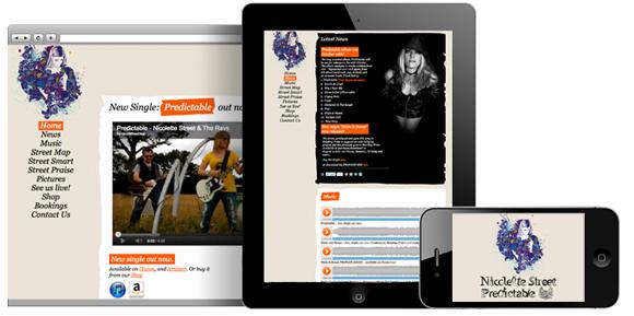 Nicolette Street and the Revs - Responsive website design
