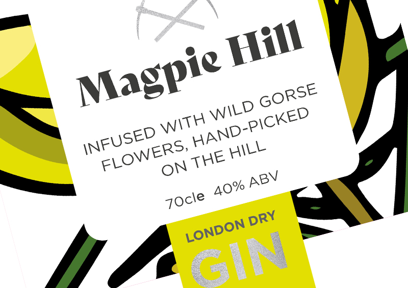Magpie Hill gin branding for Hawkridge Distillers