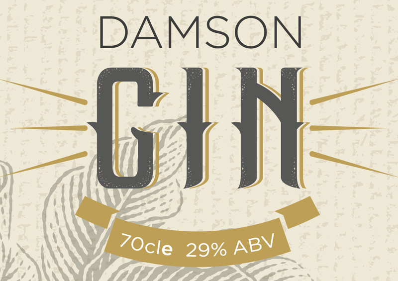 Amicus Damson Gin branding